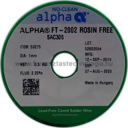 Forrasztóón ólommentes ALPHA SAC305 Alpha FT-2002 Rosin Free/122  1,0mm