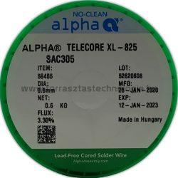 Forrasztóón ólommentes ALPHA SAC305 Fluitin XL825/133 0,8mm