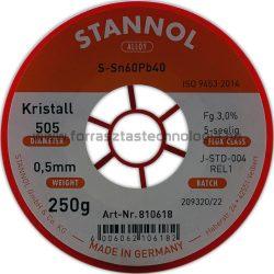 Forrasztó ón ólomtartalmú S-Sn60Pb40 0,5mm 0,25kg